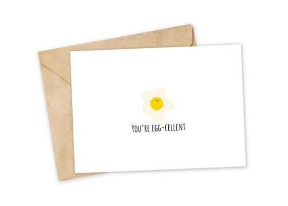 You Re Egg Cellent Egg Greeting Card Happy Card I Love Etsy In 2021 Pun Card Happy Cards Punny Cards