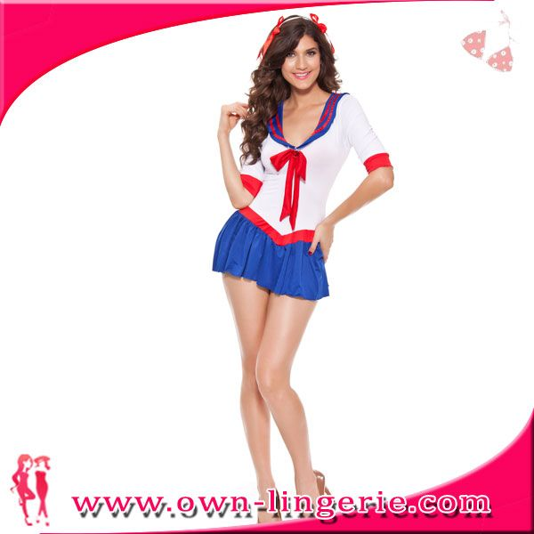 1f539ed3018 Source Sexy short white and blue halloween costume female sailor ...