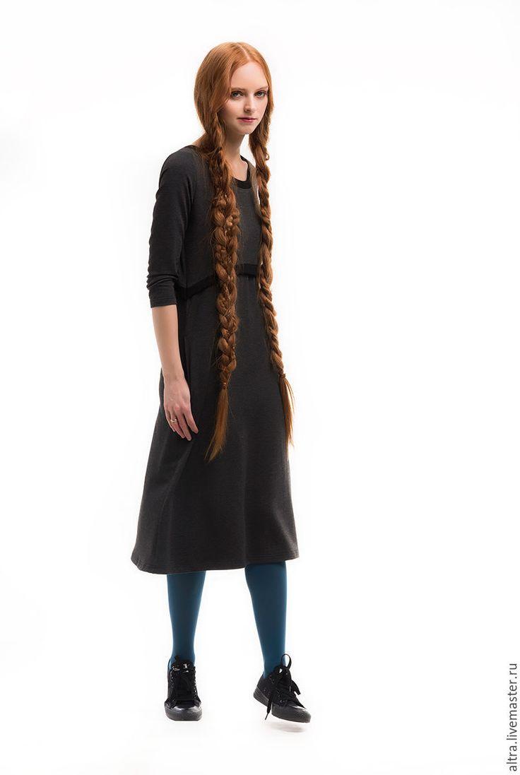 Купить Платье с ампирной линией - темно-серый, однотонный, платье, платье на каждый день