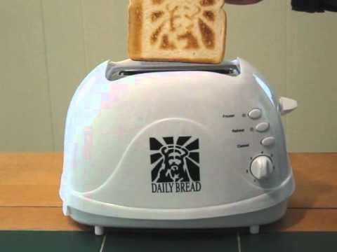 The Jesus Toasters are REAL. They burn the image of Christ onto your daily bread. How great is that? Get them at jesustoasters.com.