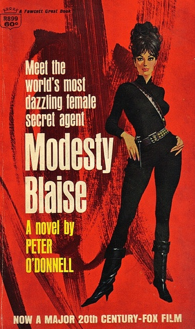 Peter O'Donnell - Modesty Blaise (Crest edition)    First published by Souvenir Press (hardback) in 1965. This paperback edition published by Fawcett Crest (R899) in March 1966. Cover art by Robert McGinnis.