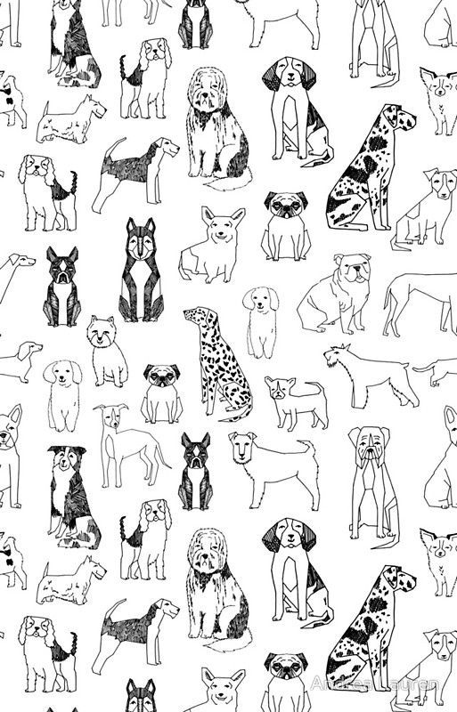 Dogs Dogs Dogs - White background