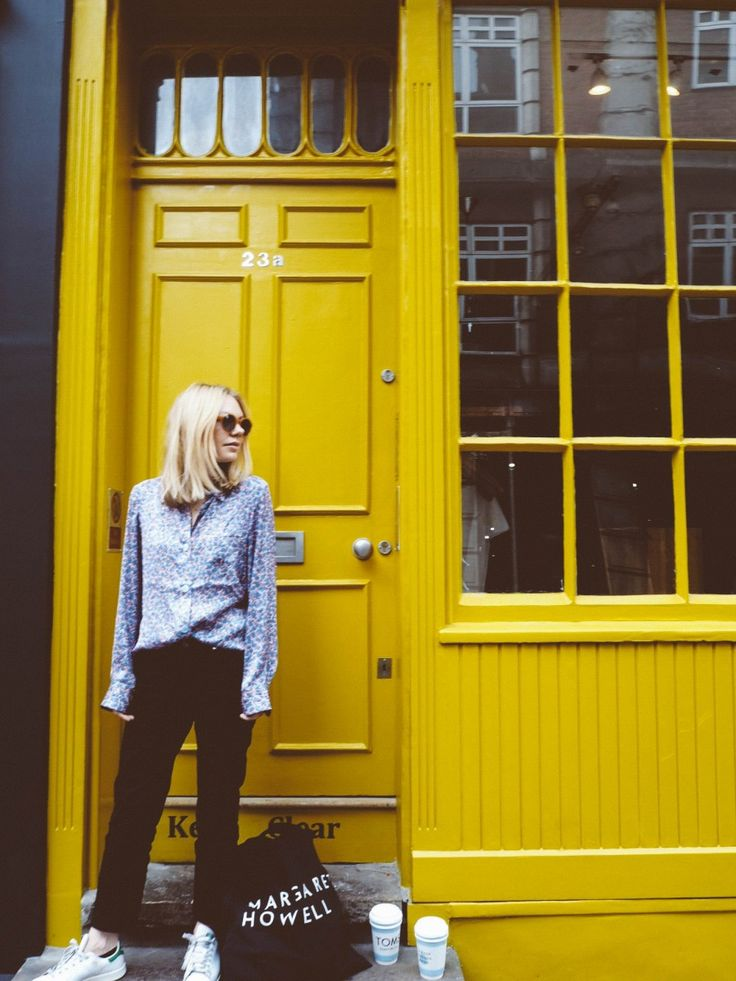 yellow doors and silky blouses http://gabriellalundgren.com/yellow-doors-and-silky-blouses My ootd. Wearing my silky blouse from Acne Studios, denim Row from Acne Studios, sunnies from And Other Stories, Tote from Margaret Howell and sneakers from Adidas Stan Smith. Pic shoot in central London in front of this magic yellow door.