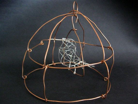 Wire bird Lulu in steel cage with swing twisted by MyWingedFriends, £50.00