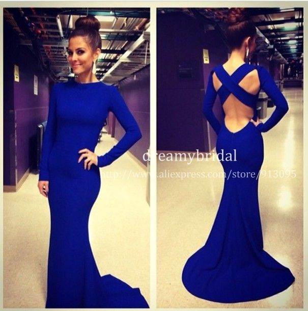 2014 New vestidos de fiesta Royal blue Sexy Spandex High formal long evening dress With Long Sleeves Mermaid Evening Gowns $149.99
