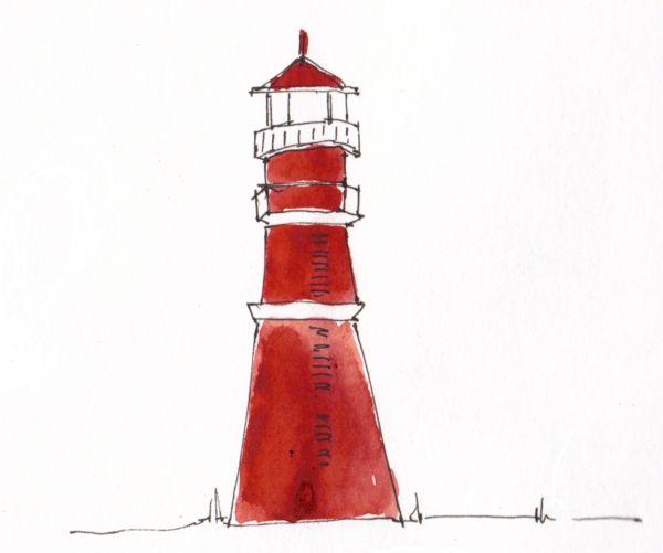 Un joli phare peint avec la technique de l'aquarelle. On aime sa simplicité!