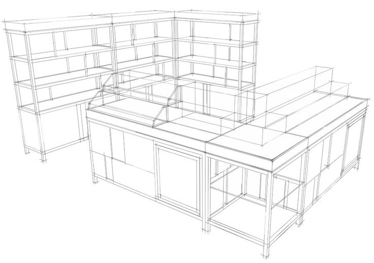 Cosmetics Shop Interior Design Space Sketch, Sketch Up Style, 스케치업 스타일, 화장품 매장 인테리어 디자인 스케치