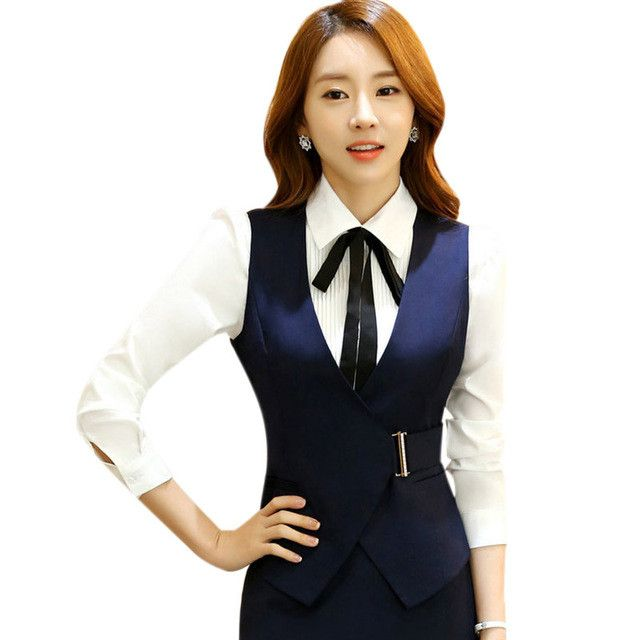 Free Shipping Women Vest Elegant Lady Work Uniform Business Office Formal Waistcoat Spring Autumn Female Clothing Tops