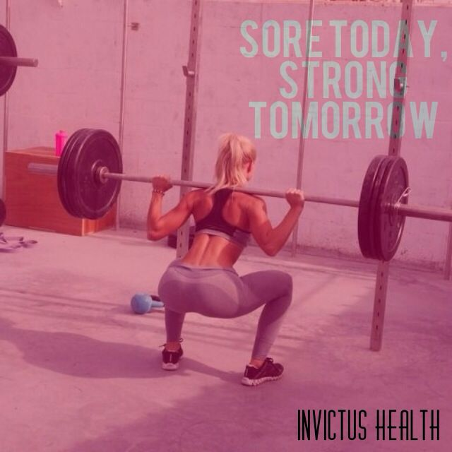 Sore today, Strong tomorrow. Health, Fitness, Strong, female, motivation.