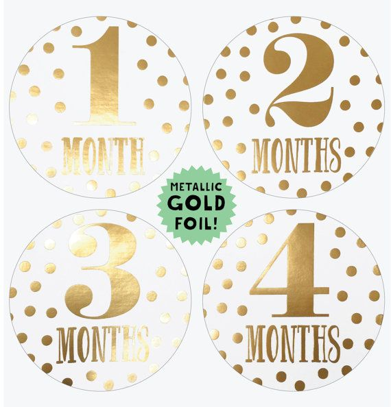 Metallic Gold Monthly Baby Stickers Gold by LucyDarlingShop