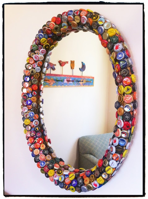 Layers of bottlecaps hot glued to a frame (could also do shells or any other…