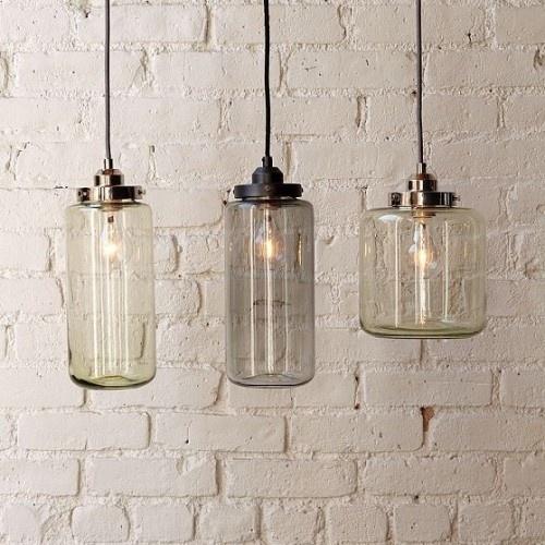 Jar lighting | kitchen pendants: Westelm, Pendants Lamps, Mercury Glasses, Lighting Fixtures, Jars Lighting, Glasses Jars, West Elm, Masons Jars, Pendants Lighting