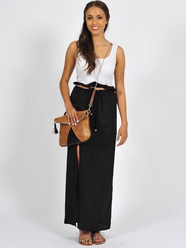 Diligo black high waisted skirt with nude trim & FSP Chloe hazelnut leather colour block bag | www.diligo.co.za
