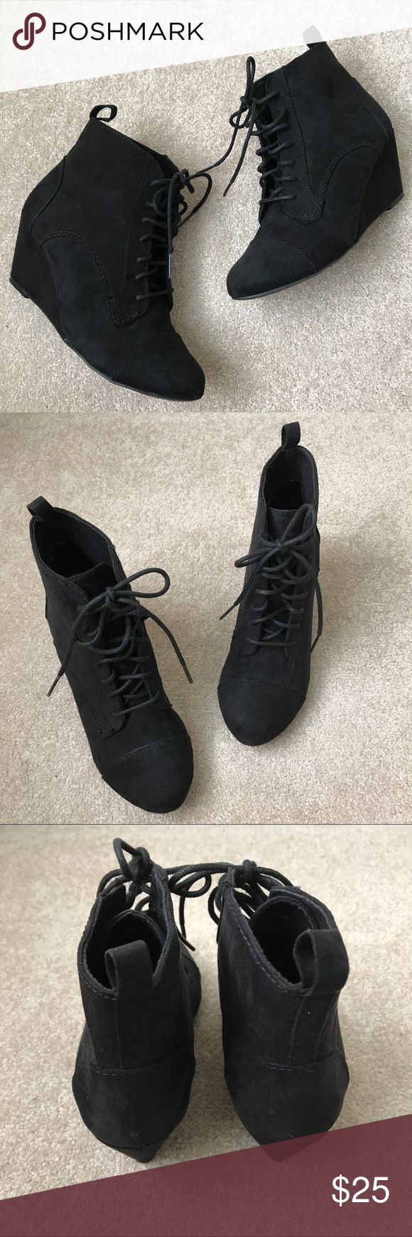 Zara Booties Zara ankle booties, suede material with a small wedge. Worn a few times so still in good condition! Fits true to size, super comfy! Zara Shoes Ankle Boots & Booties