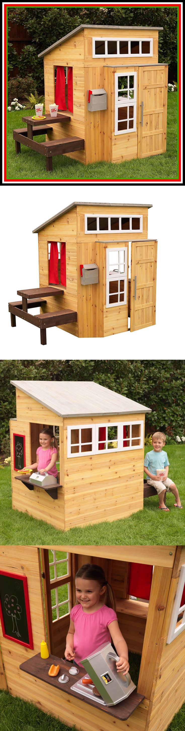 Permanent Playhouses 145995: Wooden Playhouse Outdoor Kids Boys Kidkraft Outside Backyard Tiny House Sale -> BUY IT NOW ONLY: $599.95 on eBay!
