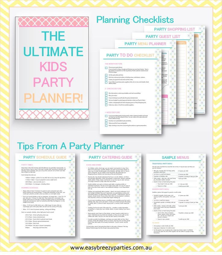 Download your FREE Ultimate Kids Party Planner! Includes To Do and - menu list sample