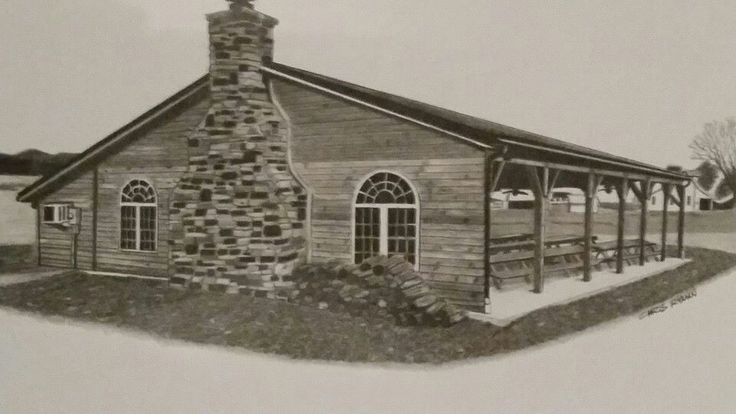 Drawing of a church pavillion, commission drawing for a Christmas gift