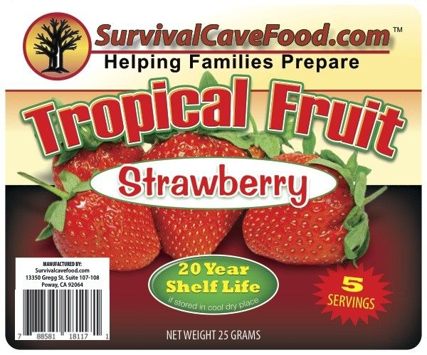 Survivalcavefood Freeze Dried Fruit - Strawberry 5 serving pouch