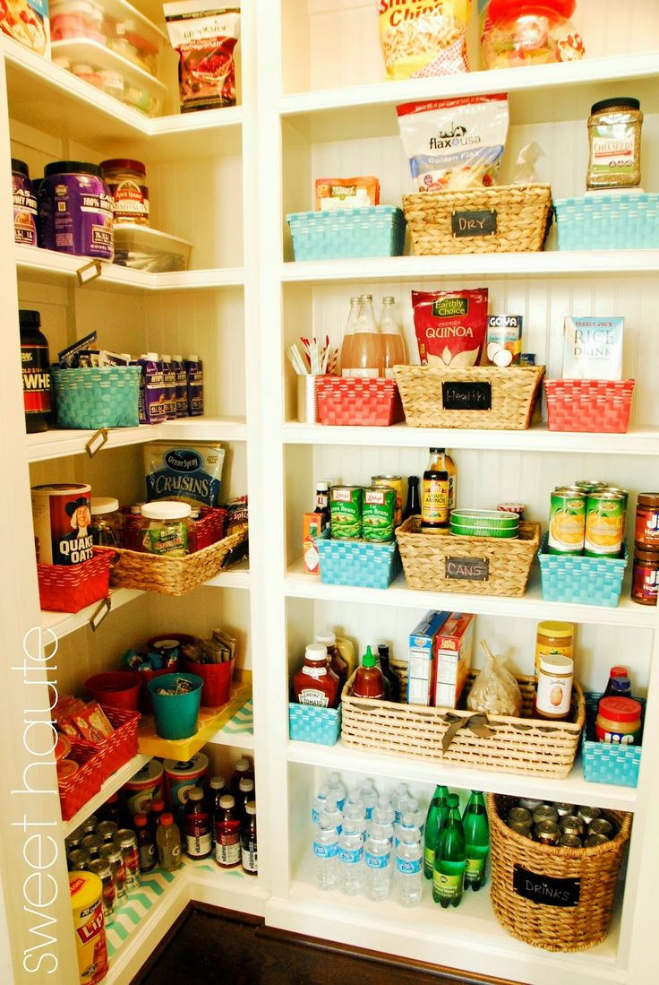 Pantry Organization- Fit and Happy by SWEET HAUTE blog. Check this out, an organizational DIY project that streamlines the storage and labels the sections, yet also changes the contents to a fit pantry that works toward a healthier lifestyle. So many cute realistic ideas at an affordable price. Pin now....read later!!