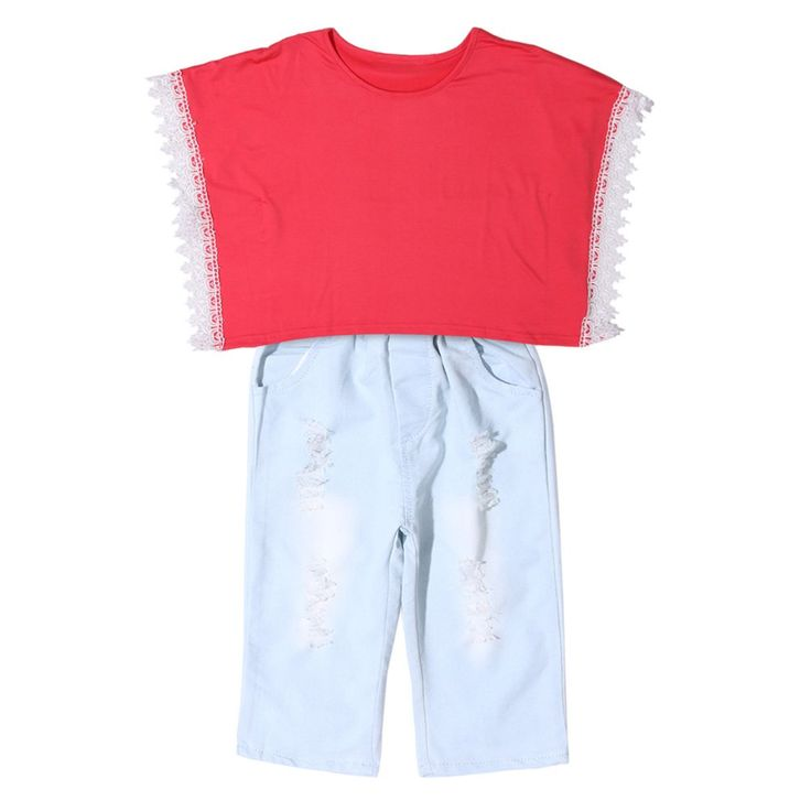 Kids Clothes Set,amazingdeal Girls Outfits Red Tippet T-shirt Tops + Denim Pants 2pcs(110). Material: Cotton, cowboy,Sleeve length: Short sleeve. Fashion cool design for kids to wear. Nice gift for baby birthday,daily wear,Summer clothes,casual outfits.etc. It is so soft and comfortable.The quality is great. Please read detail size measurement in Product description before purchase.