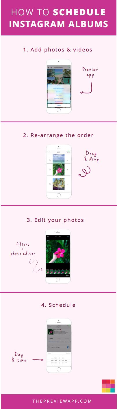 Follow these 4 steps to schedule your Instagram photo albums / carousels in Preview app. Click on the image to see more Instagram tips and tricks. Enjoy!