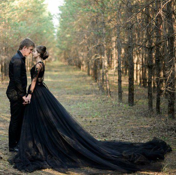 Alternative Sexy Black Wedding Dress, Non Traditional Modern Tulle Wedding Dress – Zara Bohemia