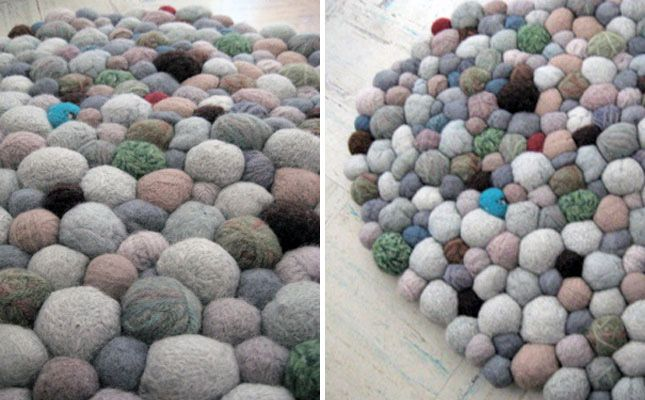Combine Pom Pom style with pebble style & make your own felt stone rug