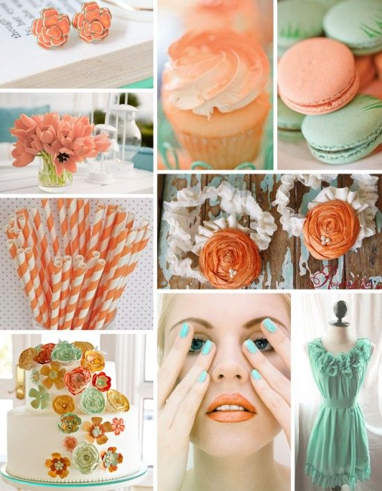 Tangerine and seafoam: Colors Combos, Mint Green, Sea Foam, Spring Colors, Colors Combinations, Wedding Colors, Colors Schemes, Favors Boxes, Colors Inspiration