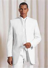 Nach Maß Weißen Stehkragen Bräutigam Smoking Best Man Suit Hochzeitgroomsman Männer Hochzeitsanzüge Bräutigam(China (Mainland))