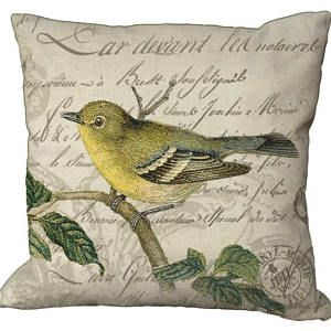 Yellow Bird on French Letter in Choice of 14x14 16x16 18x18 20x20 22x22 24x24 26x26 inch Pillow Cover on Burlap or Linen