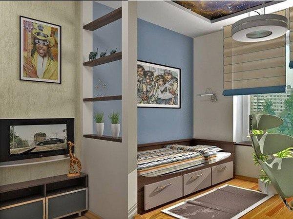 Разделение комнаты мебелью