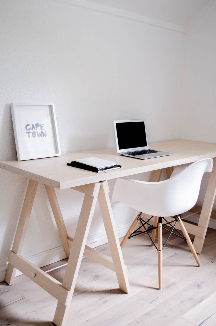 Birch plywood trestle desk the office minimal design for Minimal table design