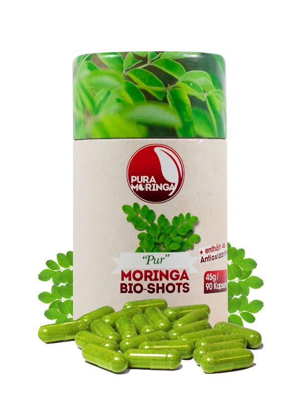 Bio Moringa Kapseln in der Dose- 90 Stück. Bio-zertifiziert, vegan und glutenfrei.
