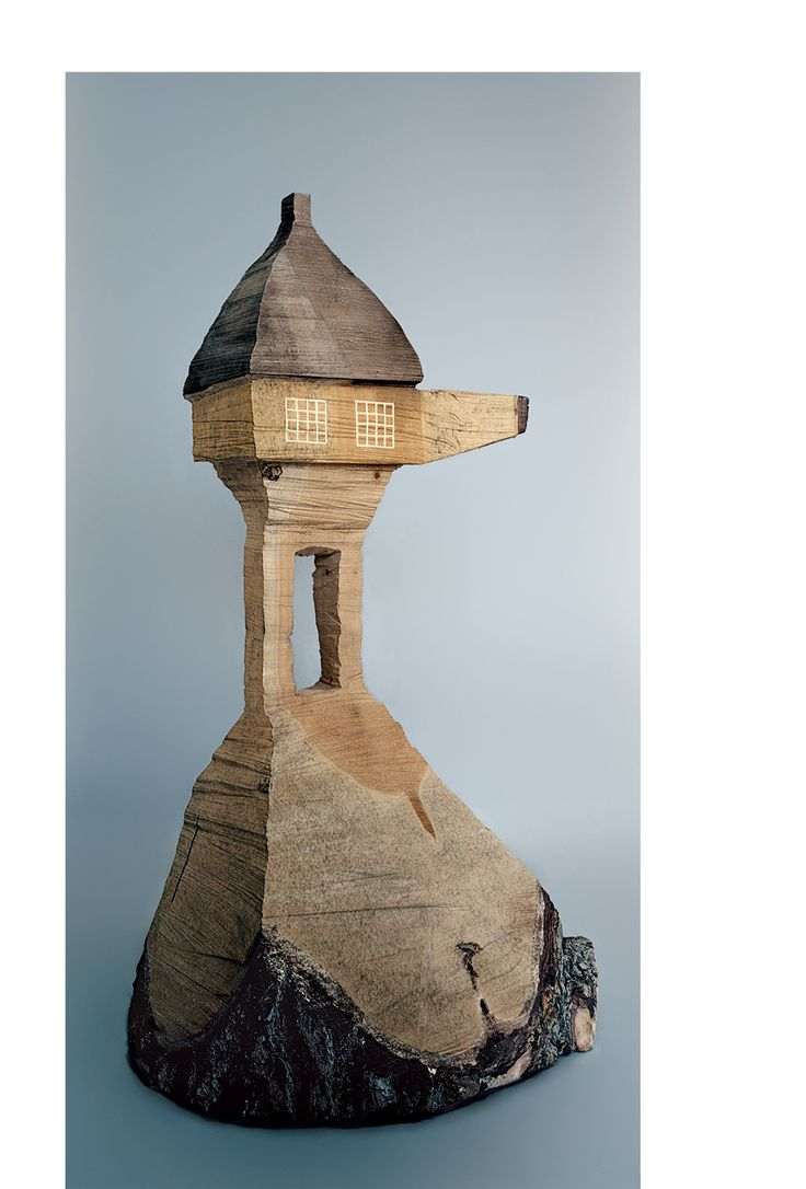 Fujimori carves many of his architectural models, like this one, for his Too-High Tea House, out of wood.