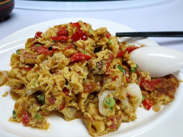 Eggs scrambled with fish. China really knows how to make good eggs dishes.