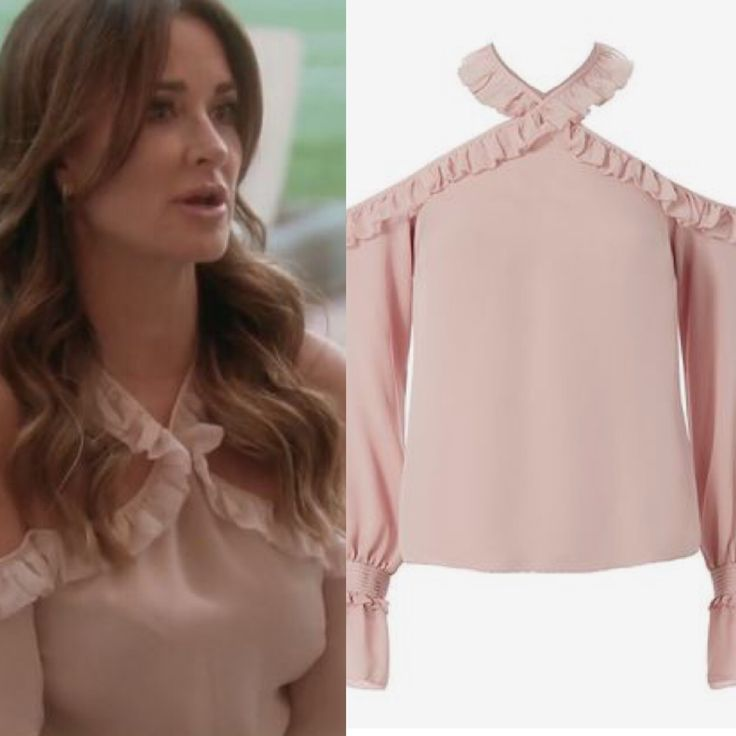 Kyle Richards' Pink Ruffle Cold Shoulder Top http://www.bigblondehair.com/real-housewives/kyle-richards-pink-ruffle-cold-shoulder-top/ #RHOBH Real Housewives of Beverly Hills Season 6 Episode 7 Fashion