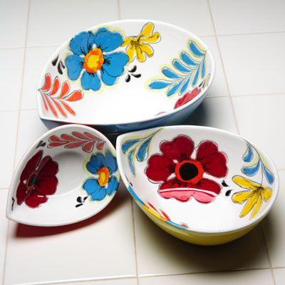 Floral Teardrop Bowls