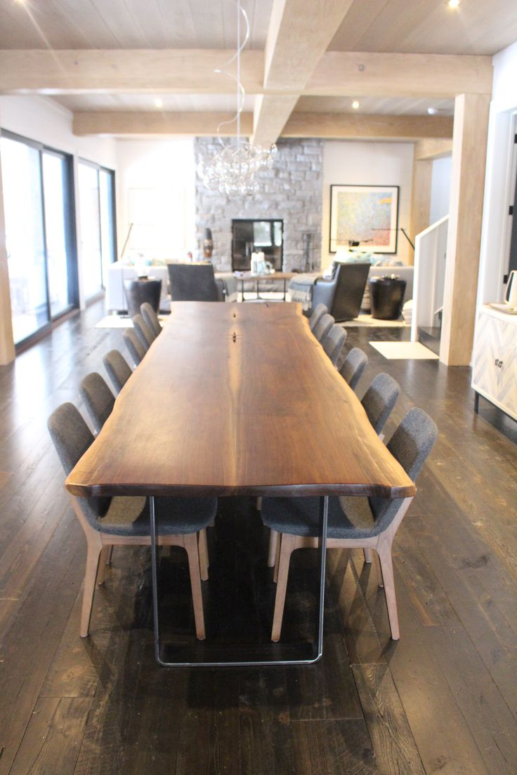 13′ Black Walnut table custom made for Muskoka cottage | Sustainable live edge tables and furniture made from salvaged wood