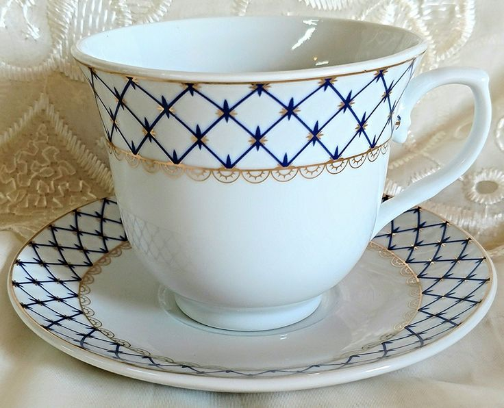 Set of 6 Cobalt Net Wholesale Tea Cups and Saucers in Gift Box