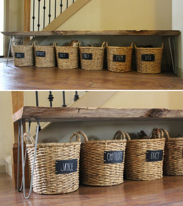 Stop tripping over sneakers and give everyone in your home a designated shoe basket — stored neatly under a putting-shoes-on bench.