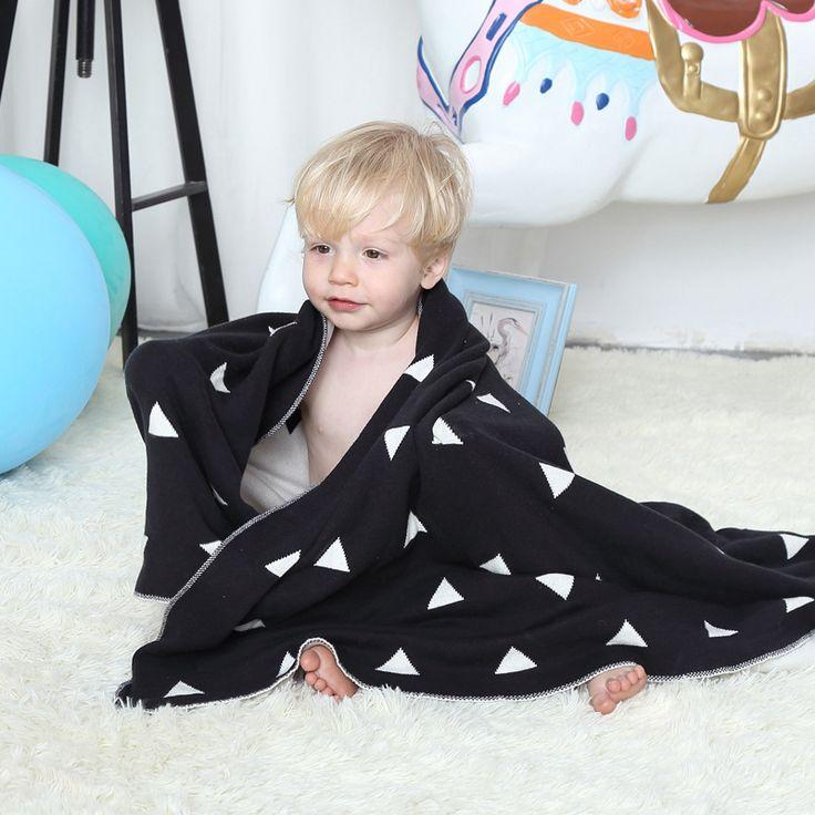Nordic Thread Blanket Cotton Throw Children's Cart Carpet Nap Blanket Geometric Multi-function Knitted Blanket Sofa Plane Soft