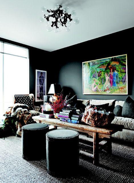 black on black on black: Interior Design, Living Rooms, Black Walls, Coffee Table, Interiors, Livingroom, Dark Walls, Light Fixture, Room Design
