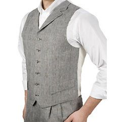New style 1920s mens vest: 100% Linen Six-Button Notch Lapel Plaid Vest