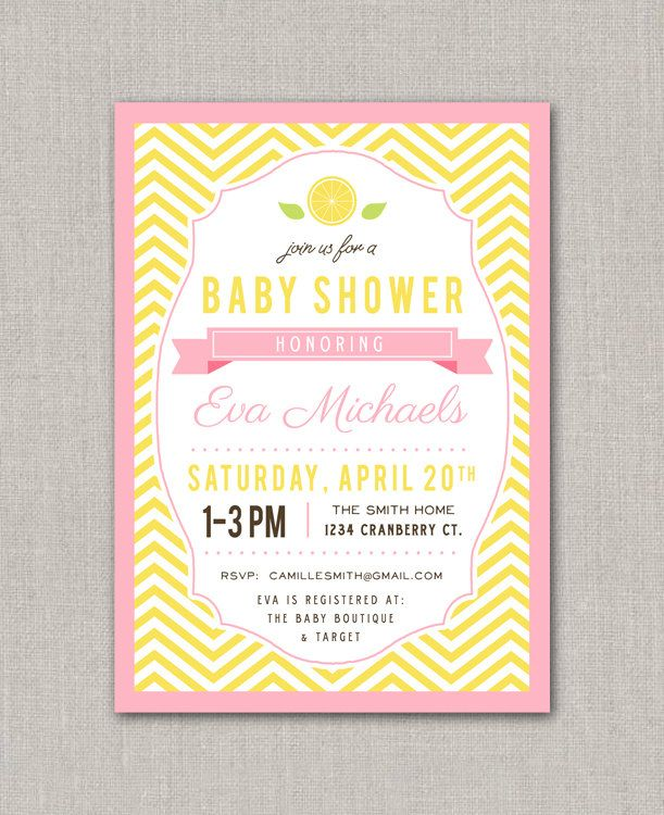 Pink Lemonade Baby Shower Invitation. $15.00, via Etsy.