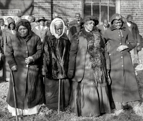 Convention of former slaves: Annie Parram, age 104; Anna Angales, age 105; Elizabeth Berkeley, 125; Sadie Thompson, 110. Washington, D.C., 1916. Oh, I wish someone had interviewed them or could just talk to them now!