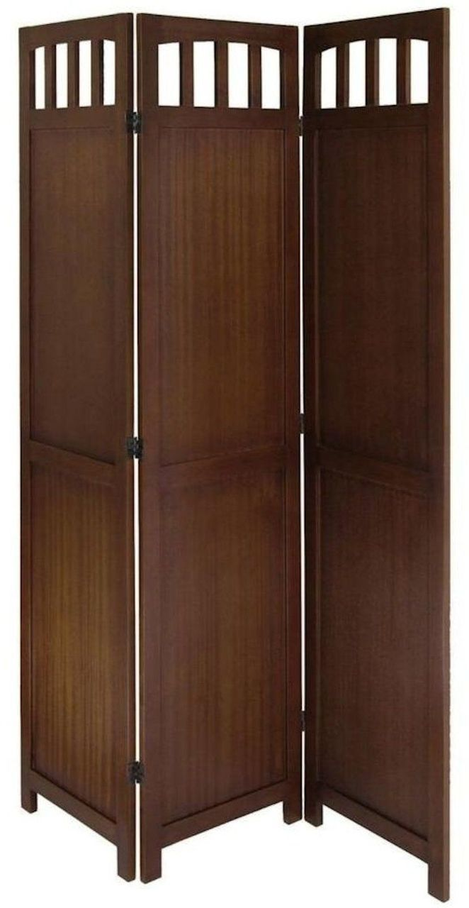 Room Divider 3 Panel Solid Wood In Antique Walnut Wood Room Divider Room Divider Screen Cheap Room Dividers