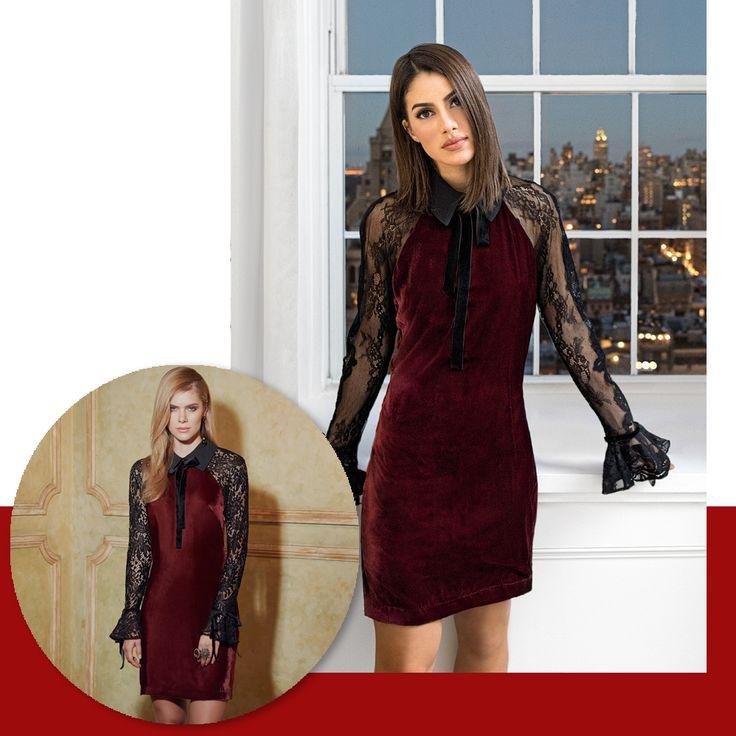 Renda e Veludo : dupla sofisticada para o Inverno 17. Aposta da⭐️@camilacoelho para o Alto Inverno RS17.    Vestido::1171388    #Inverno2017 #camilacoelho #reginasalomao #NewCollection #AltoInverno#FashionTrends #veludo #velvet #renda