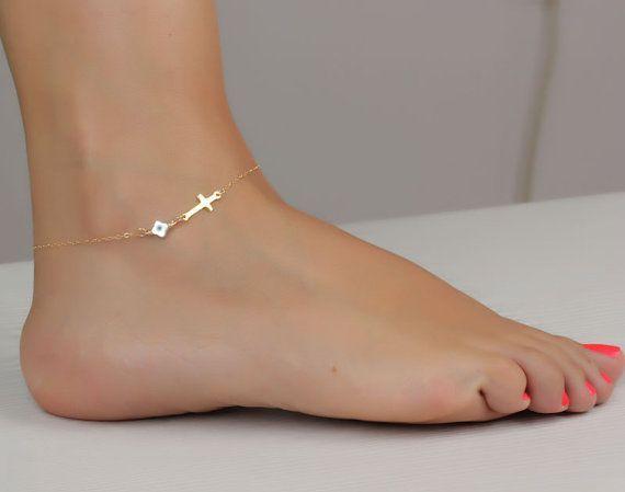 Gold Cross anklet / Sideways cross anklet / Evil eye jewelry/