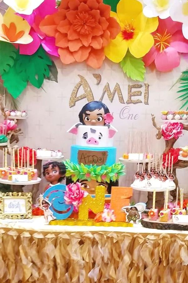 Don T Miss These 19 Popular Girl 1st Birthday Themes In 2020 Birthday Parties Moana Birthday Party Disney Moana Birthday Party