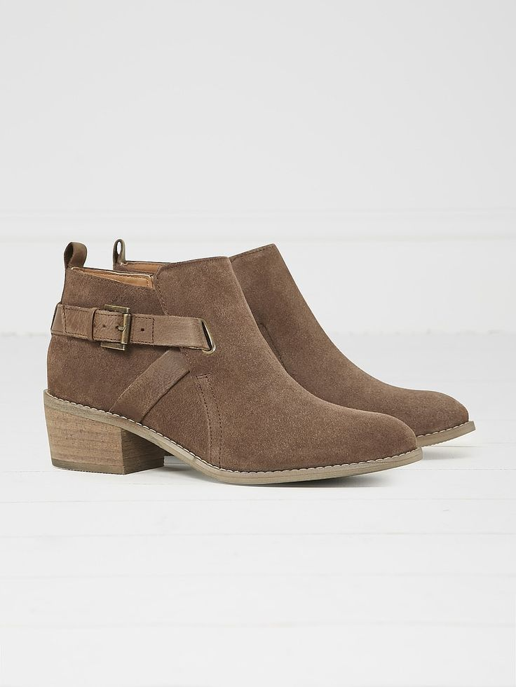 Womens khaki brown fern block heeled ankle boot from White Stuff - £75 at ClothingByColour.com